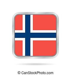 Flag of Norway. Shiny metallic gray square button.