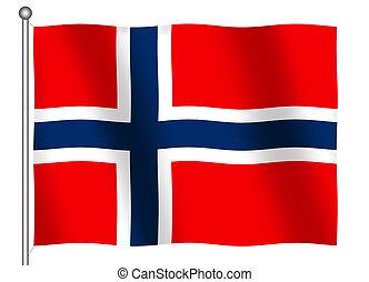 Flag of Norway Waving