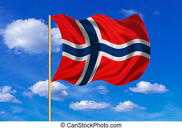 Flag of Norway waving on blue sky background