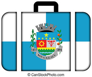 Flag of Nova Iguacu, Brazil. Suitcase icon, travel and transportation concept