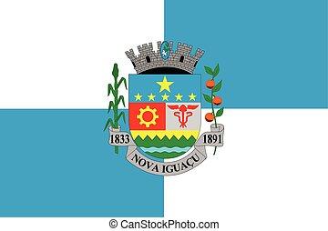 Flag of Nova Iguacu, Brazil. Vector Format
