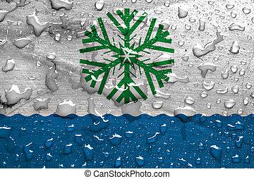 flag of Novodvinsk with rain drops