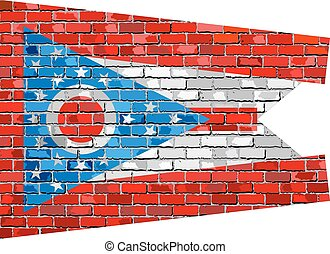 Flag of Ohio on a brick wall