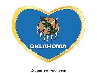 Flag of Oklahoma in heart shape, golden frame