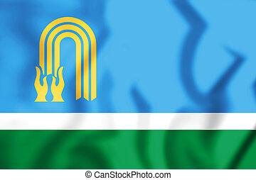 3D Flag of Oktyabrsky (Bashkortostan), Russia. 3D Illustration.