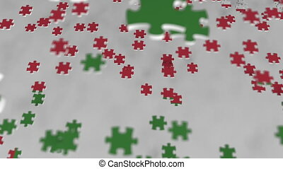 Flag of Oman being made with jigsaw puzzle pieces. Omani...
