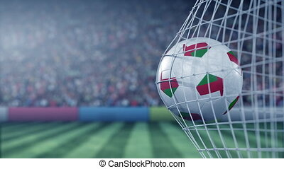 Flag of Oman on the ball in football net. Conceptual 3D...