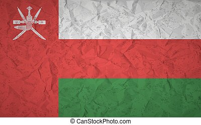 Flag of Oman with the effect of crumpled paper and grunge -...