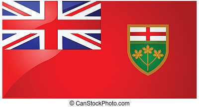 Flag of Ontario - Glossy illustration of the flag of the...