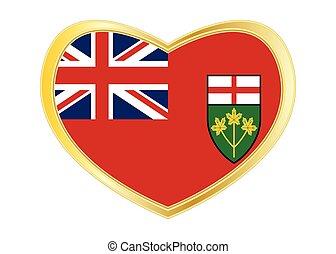 Flag of Ontario in heart shape, golden frame