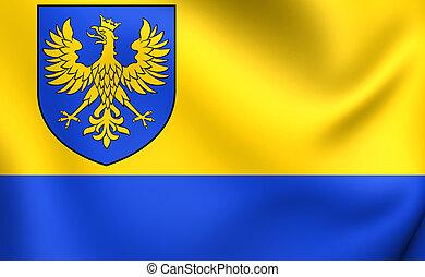 Flag of Opole Voivodeship, Poland. Close Up.