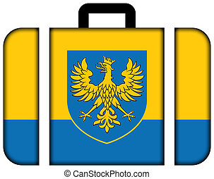 Flag of Opole Voivodeship with Coat of Arms, Poland. Suitcase icon, travel and transportation concept