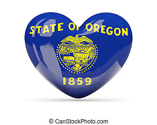 Flag of oregon, US state heart icon