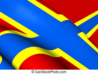 Flag of Orkney, Scotland. Close Up.