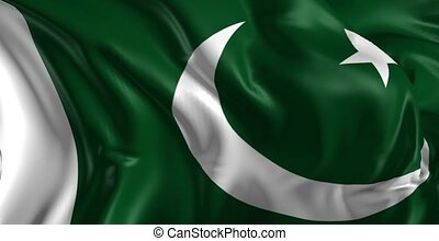 Beautiful 3d animation of Pakistan flag in loop mode