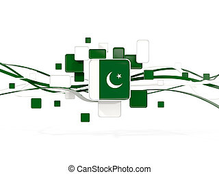 Flag of pakistan, mosaic background with lines