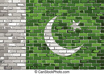 Flag of Pakistan on a brick wall