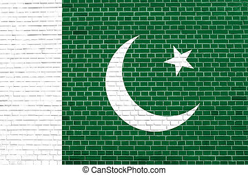 Flag of Pakistan on brick wall texture background