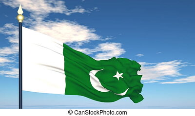 Flag Of Pakistan on the background of the sky and flying...