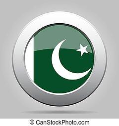 Flag of Pakistan. Shiny metal gray round button.