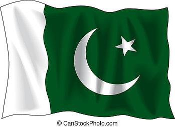 Waving flag of Pakistan isolated on white
