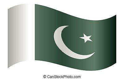 Flag of Pakistan waving on white background