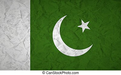 Flag of Pakistan with the effect of crumpled paper and...