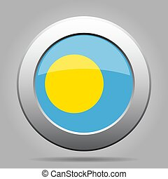 Flag of Palau. Metal gray round button.