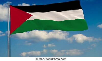 Flag of Palestine against background of clouds floating on...