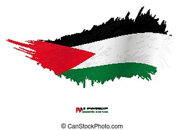 Flag of Palestine in grunge style with waving effect.