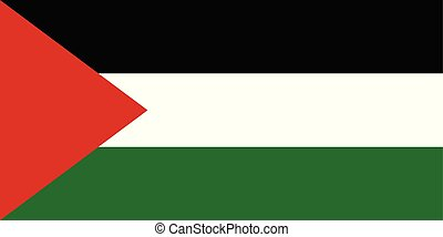 Flag of Palestine in official proportions and colors, vector