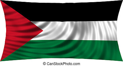Flag of Palestine waving isolated on white