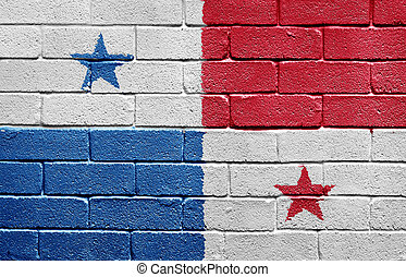 Flag of Panama on brick wall