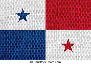 Flag of Panama on old linen