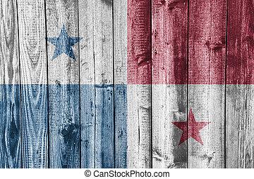 Flag of Panama on weathered wood
