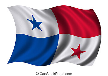 Flag of Panama waving in the wind - clipping path included
