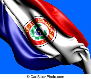 Flag of Paraguay against blue background. Close up.