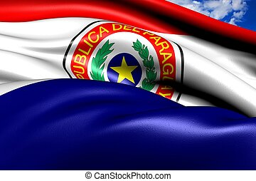 Flag of Paraguay against cloudy sky. Close up.
