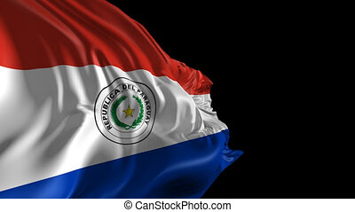 Beautiful 3d animation of Paraguay flag with alpha channel