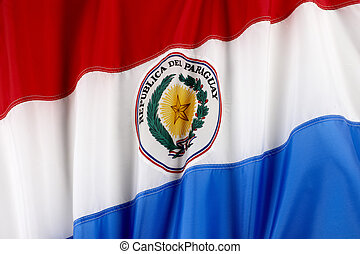 Flag of Paraguay - Close up shot of wavy flag of Paraguay