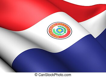 Flag of Paraguay. Close Up.