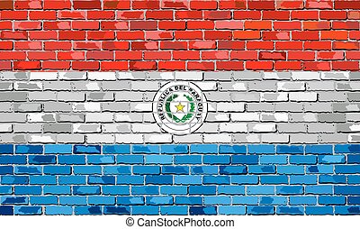 Flag of Paraguay on a brick wall
