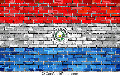 Flag of Paraguay on a brick wall with effect