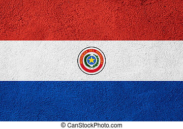 flag of Paraguay or Paraguayan banner on rough pattern ...