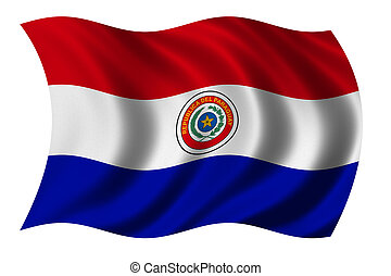Flag of Paraguay waving in the wind - clipping path included