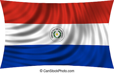 Flag of Paraguay waving isolated on white