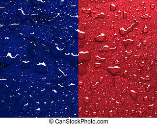 flag of Paris with rain drops