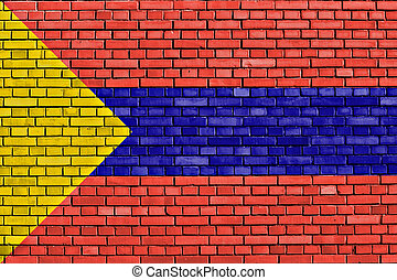 flag of Pasto painted on brick wall