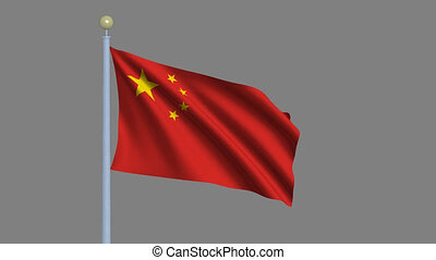 Flag of People's Republic of China waving in the wind with flagpole - very highly detailed and realistic waving flag with alpha matte for easy isolation