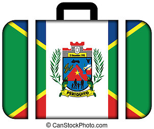 Flag of Periquito, Brazil. Suitcase icon, travel and transportation concept